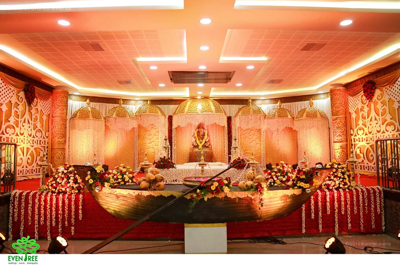 Kerala hindu wedding stage decoration