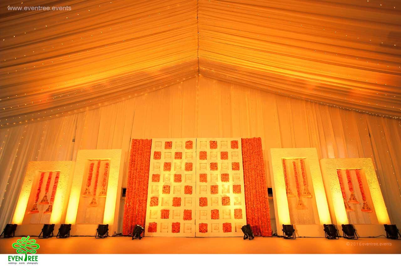Hindu wedding reception stage decoration Kochi